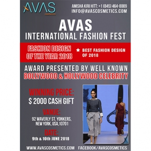 AVAS International Fashoin Fest (Fashion Design of the Year 2018) 9th & 10th June 2018 New York, USA