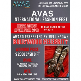 AVAS International Fashoin Fest (Henna Artist of the Year 2018) 9th & 10th June 2018 New York, USA